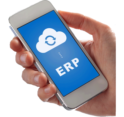 Hand holding a mobile phone saying ERP